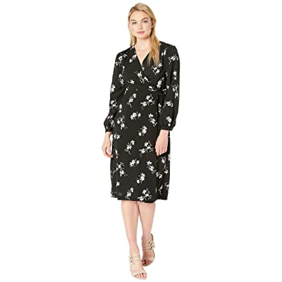 kensie Simply Floral Wrap Midi Dress KS2K8339 (Black Combo) Women