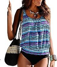 S.Charma Women's Plus Size Swimsuits Printed Tankini Top Triangle Bottom Bikini Bathing Suit