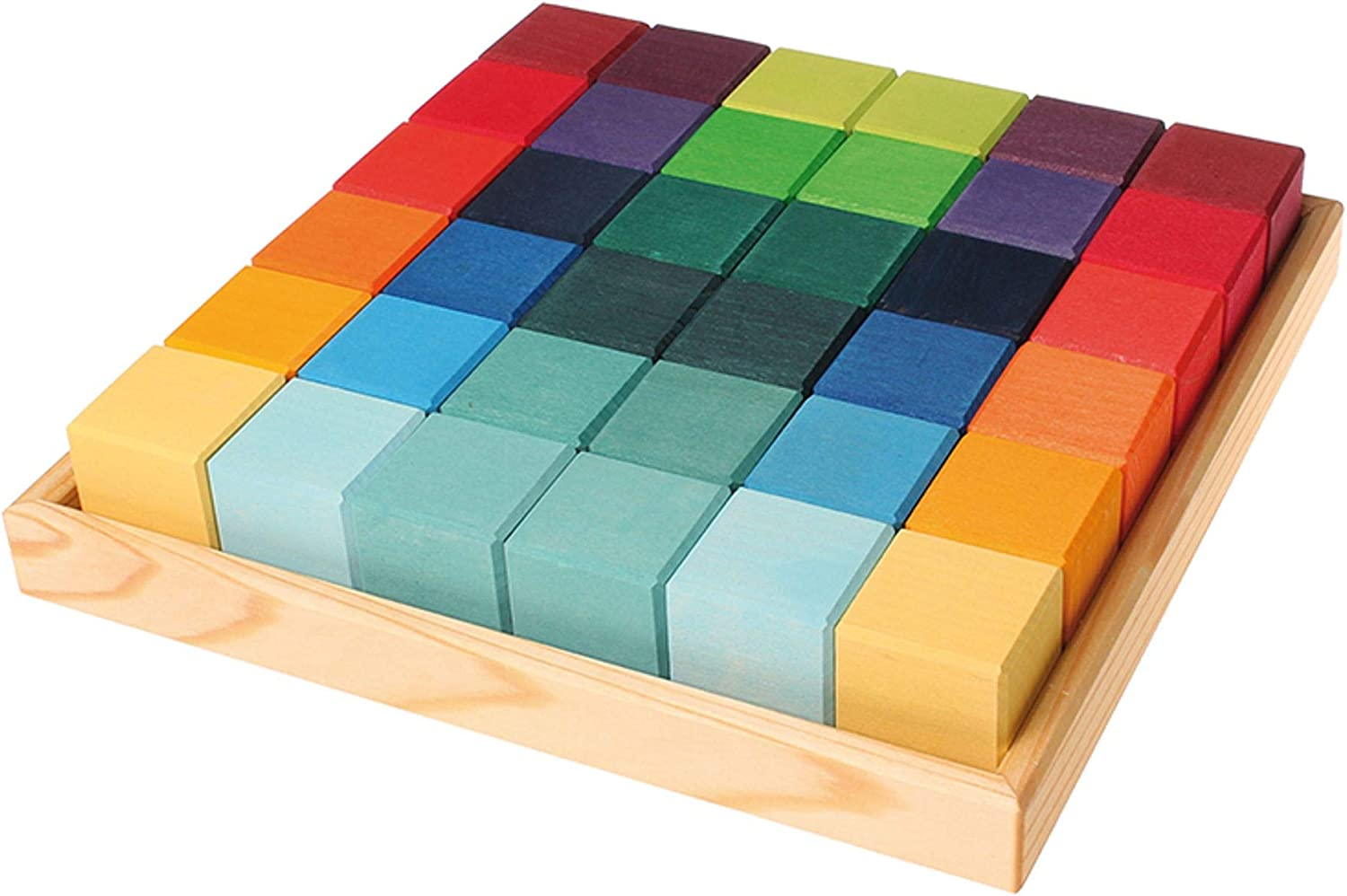 Grimm's 70% OFF Outlet Mosaic Square of 36 Wooden Cube Storage low-pricing Tray Blocks with