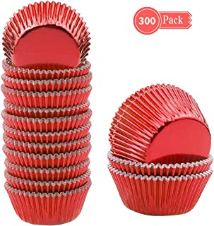 Lelekiss Mini Metallic Foil Cupcake Liners Red Baking Cups Muffin Case (300 Pieces)