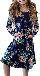 Girls Long Sleeve Floral Pleated Swing Casual Maxi Dress Pocket 4-13Y