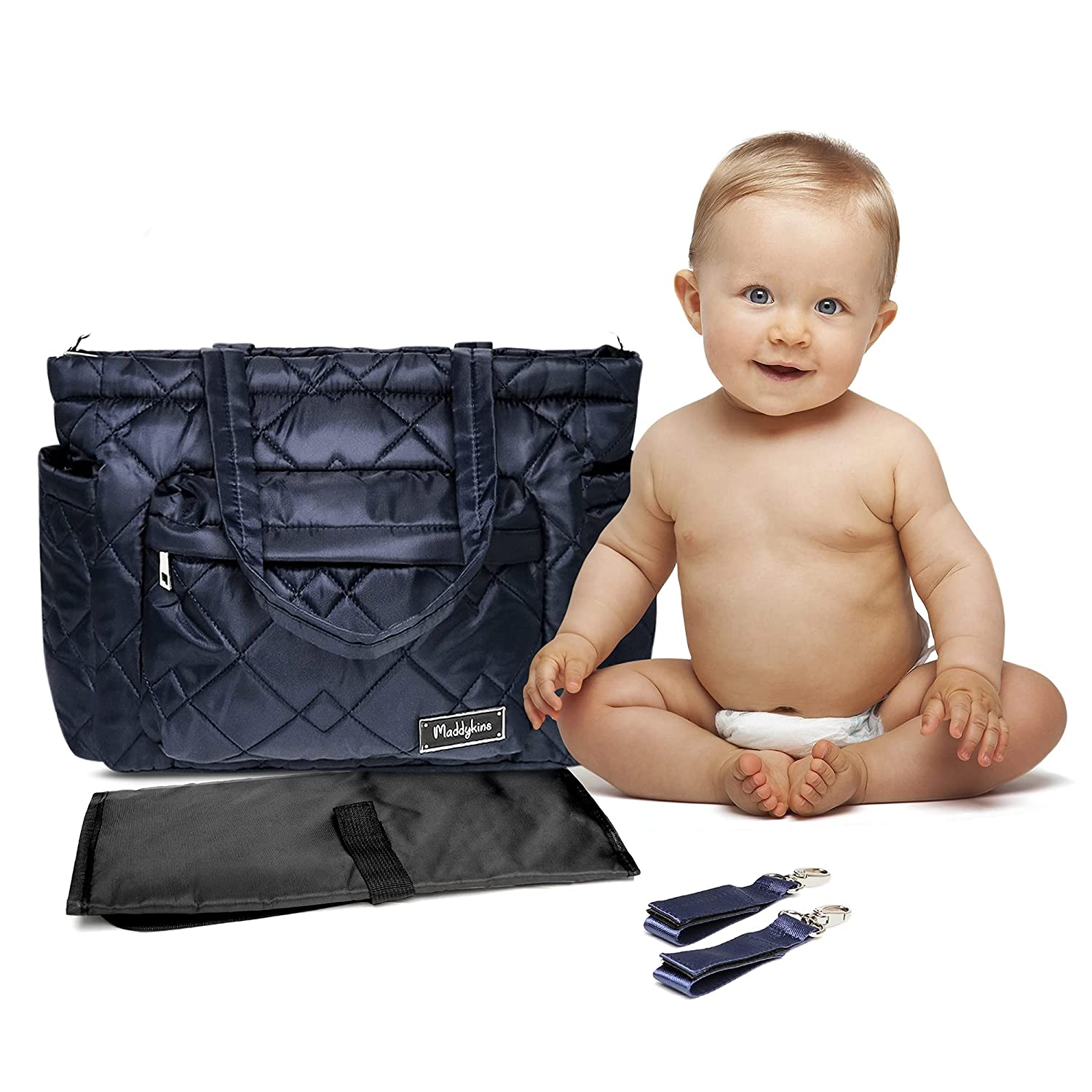 Maddykins - Quilted Tote Bag, Stylish Diaper Tote Bag, Gender Neutral Diaper Bag, Travel Bag with Portable Changing Pad, Laptop Pocket, Shoulder Strap, and 2 Stroller Straps, Navy