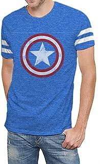 Captain America Shield Logo Men's Royal Blue Varsity T-Shirt | Avengers Infinity War Edition