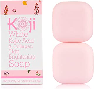 Koji White Kojic Acid & Collagen Skin Brightening Soap ( 2.82 oz / 2 Bars ) – Natural Glowing Skin for Even Complexion – M...