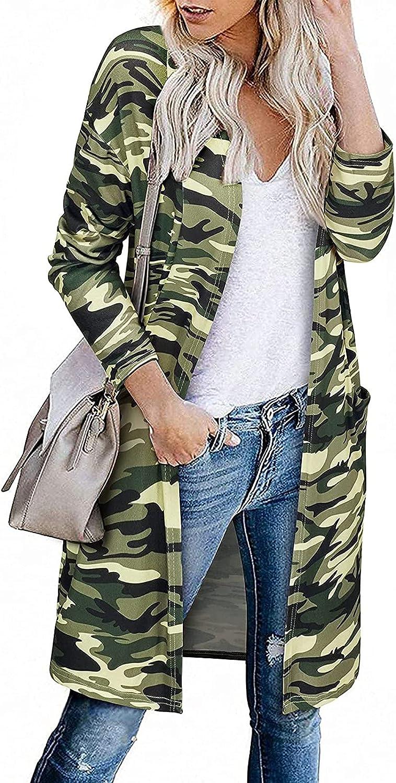 Coats for Women Fashion Casual Printed Pocket Cardigan Medium And Long Tops