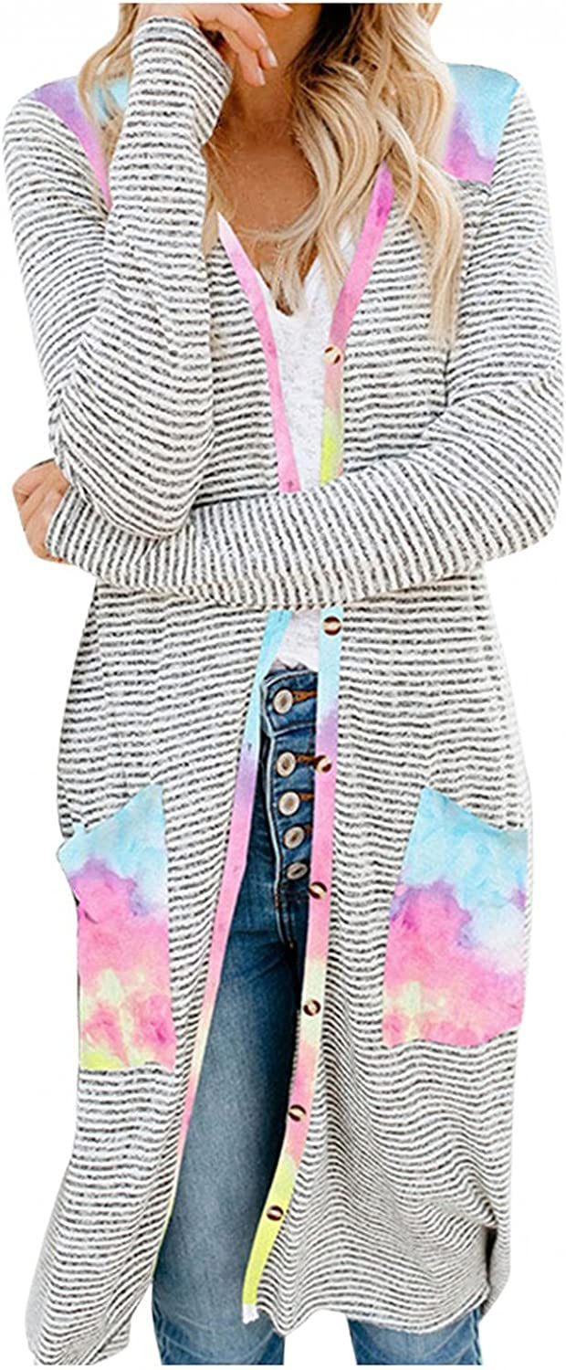Masbird Cardigan for Women Long Sleeves Split Open Front Cardigan Knitted Long Sweaters with Pockets