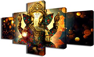 Ganesha Canvas Wall Art for Living Room 5 Piece Paintings Hindu God Pictures Modern Artwork Home Giclee Decor Posters and Prints Wooden Framed Gallery-wrapped Stretched Ready to Hang(50''Wx24''H)