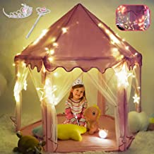 TOY Life Princess Castle Tents for Girls - Princess Play Tent with Large Moon, Star Lights , Princess Tiara and Wand -Tent...