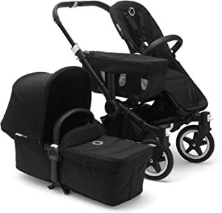 Bugaboo Donkey 2 Mono Baby Stroller, Foldable Stroller, Converts into Twin Side-by-Side Sibling Stroller, from Birth Baby Stroller, Infant Stroller, Multiple Seat Positions, Black