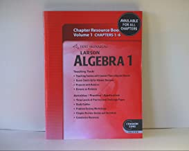 Larson Algebra 1 Chapter Resource Book Volume 1 Chapters 1-6, Common Core Edition, ISBN 9780547710723 2011