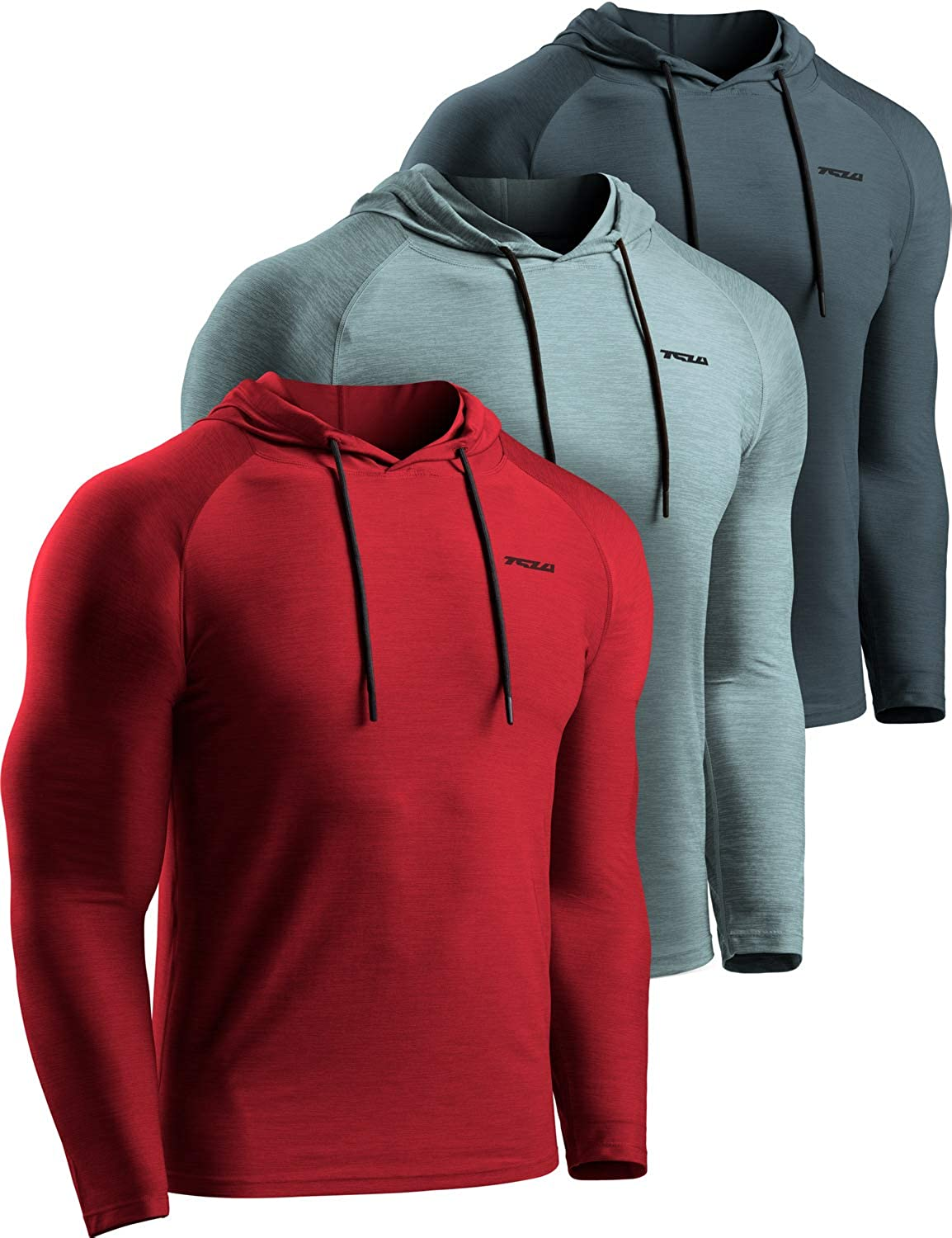Super sale TSLA 3 Pack Men's Long Sleeve Dry Fit Workout Pullover Running Max 85% OFF