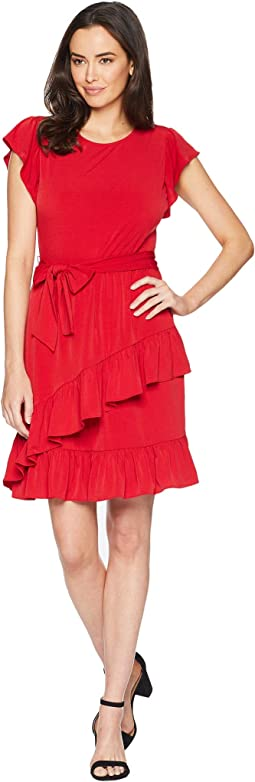 Solid Flutter Wrap Skirt Dress