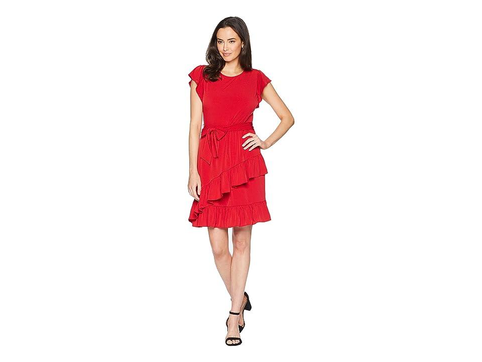 MICHAEL Michael Kors Solid Flutter Wrap Skirt Dress (Red Currant) Women
