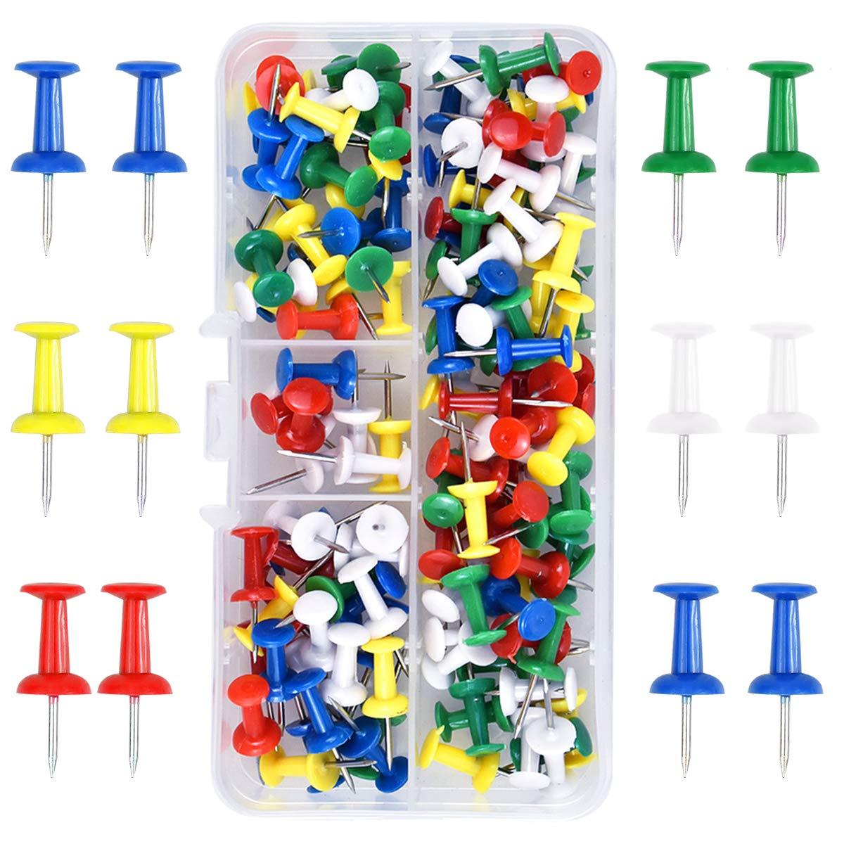100 Piezas Multicolores Chinchetas de Mapa, Pines de Empuje en Una Caja de Plástico, Push Pins para Mapas y Tablones de Anuncios de Corcho (5 Colores): Amazon.es: Oficina y papelería