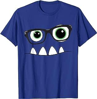 Monster Face Nerd Halloween Costume T Shirt Funny Kids Gifts