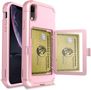 AMENQ Wallet Case for iPhone XR with Credit Card Holder, Hybrid Three Layers Full Body TPU Bumper and PC Back Protective Armor Phone Cover with Kickstand and Mirror for iPhone XR 6.1'' (Rose Gold)