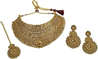 Indian Bollywood Traditional Choker Necklaces Earrings with Maang Tikka Jewelry for Women