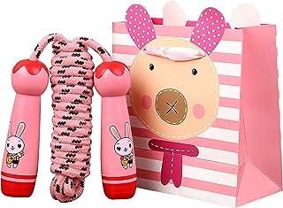Sinwind Hopprep barn med tecknade trähandtag, justerbart barn hopprep med presentpåse, Speed Rope presenter till pojkar oc...