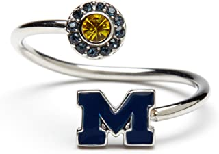 University of Michigan Ring   UM Blue Block M with Crystals   Officially Licensed University of Michigan Jewelry   UM Jewelry   Michigan Ring   Michigan Wolverines   Stainless Steel
