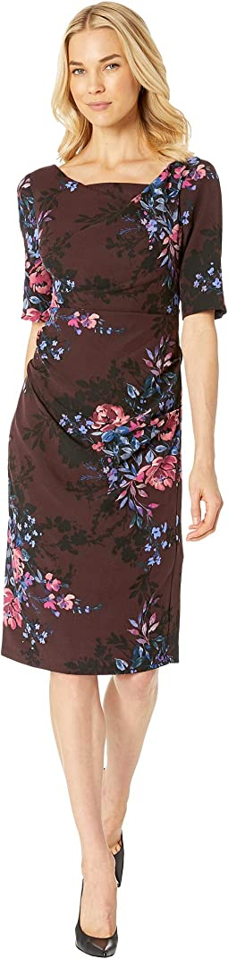Wildflower Bouquets Printed Tiffany Twill Sheath Dress with Slim Elbow Sleeves