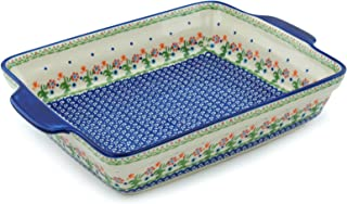 Polish Pottery Rectangular Baker with Handles 15-inch Spring Flowers
