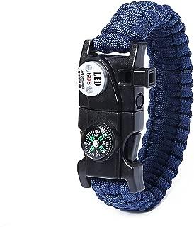 Survival Bracelet SOS LED Light, Firestarter, Rescue Whistle and mini Multitool Fire Starter Compass Slim Buckle Design