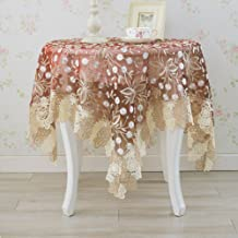 Lace Tablecloths,Kitchen Home European style Desktop decoration Christmas Party Banquet Picnic [round] Washable Anti-wrinkle Embroidered-red 90x150cm(35x59inch)