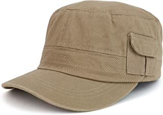 Trendy Apparel Shop Plain Castro Flat Top Style Army Cap with Pocket