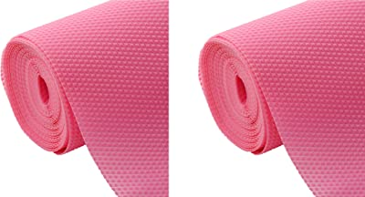 Kuber Industries 2 Pieces Multipurpose Diamond Textured Super Strong Anti-Slip Mat Liner,Size 45X150 cm (1.50 Meter Roll, Pink) - CTKTC045503