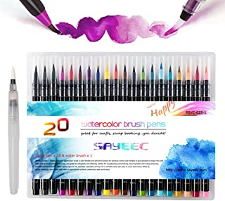 Watercolour Brush Pens Set,SAYEEC Set of 20 Watercolour Paint Brush Art Marker Pens with 1 Refillable Blending Water Brush...