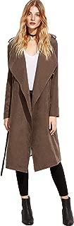 Women's Waterfall Collar Back Tie Wrap Long Trench Cardigan Jacket Duster Coat Outerwear