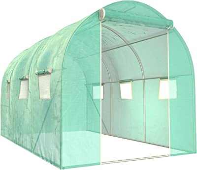 SUNCOO Greenhouse, Portable Greenhouses Heavy Duty, Large Walk-in Green House for Outdoors Garden, Zippered Door, Roll-Up Windows (10' X 7' X 7')