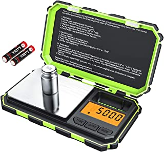 [Upgraded] KeeKit Digital Mini Scale, 200g 0.01g Pocket Scale with 50g Calibration Weight, Electronic Smart Scale with Tare & LCD Backlit Display for Food, Tablets, Jewelry (Battery Included) - Green