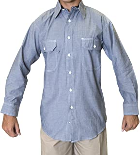 S&W Manufacturing Blue Collar Outlet Men's Chambray Long Sleeve Shirt, Two Front Pocket with Mitered Flaps