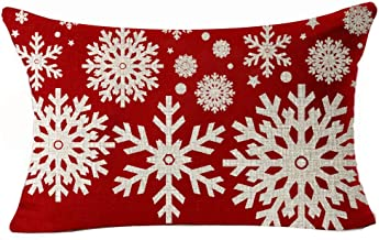 Happy Winter Beige Various Beautiful Fantastic Snowflake in Red Merry Christmas Gifts Cotton Linen Throw Waist Lumbar Pill...
