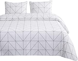 Wake In Cloud - Geometric Quilt Set, White Black Geometric Modern Pattern Printed, 100% Cotton Fabric with Soft Microfiber Inner Fill Bedspread Coverlet Bedding (3pcs, Queen Size)
