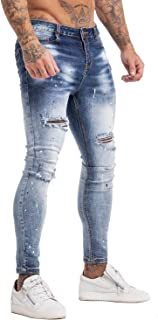 Men's Skinny Jeans Stretch Ripped Tapered Leg