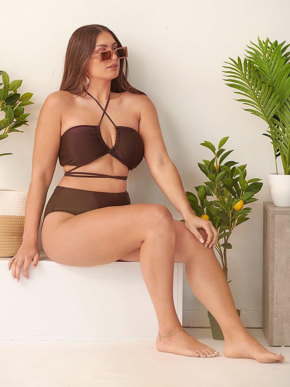 SOLY HUX Women's Criss Cross Halter Tie Back Bikini Bathing Suit 2 Piece Swimsuits