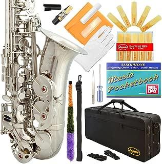 Lazarro 360-NK E-Flat Eb Alto Saxophone Silver Nickel with Case, 11 Reeds, Care Kit & Many Extras