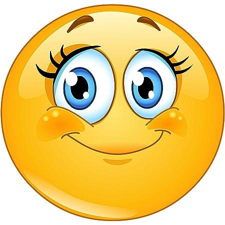 Easydruck24de Smiley Aufkleber Wimpern I Kfz 245 I Rund Ø 9 Cm I Süßer Emoticon Sticker Für Laptop Notebook Tür Roller Auto I Wetterfest Auto
