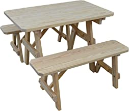 product image for Outdoor 4 Foot Pine Picnic Table with 2 Benches Detached - Stained in Natural - Amish Made USA