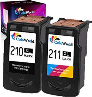 ColoWorld Remanufactured Ink Cartridge Replacement for Canon PG 210xl CL211XL 210 211 Used in PIXMA MX350 MP250 MX340 MP280 MP459 MX410 IP2702 MP240 MX360 MP490 MP270 Printer (1 Black 1Tri-Color)