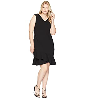 Plus Size V-Neck Ruffle Hem Dress