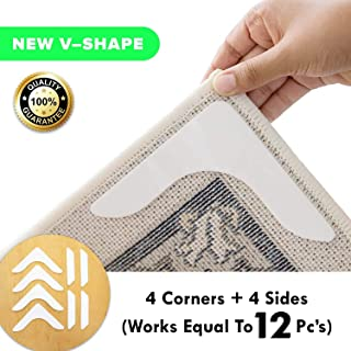 Non Slip Runner Rug Grippers – Eco friendly, Washable and Anti Slip V-Shape Rug Pad for a living room, bathroom, carpet, vinyl, hardwood,laminate floors, and tiles [4 V shape Corners +4 side pieces]