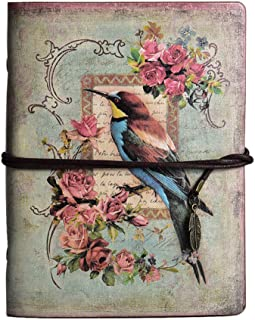Vintage Refillable Journal, MALEDEN Premium Leather Traveler Notebook Sketchbooks Classic Diary Planner with Blank Pages and Zipper Pocket (Bird)