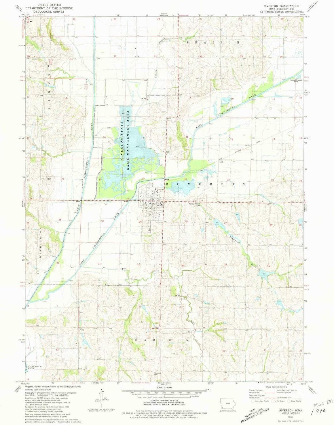 YellowMaps Riverton Detroit Mall IA topo map Scale X free Minute 1:24000 7.5