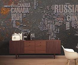 ورق جدران بتصاميم خريطة العالم من طيف الجدران للغرف والمكاتب بتصميم عصري وانيق, ورق حائط مطبوع بدقة عالية بمقاس 4 متر عرض ...
