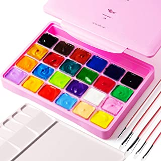 Gouache Paint, 24 Color Paints Set, Jelly Gouache Opaque, Vivid, Smooth Gel Watercolor Paint Kit with Portable Case, 10pcs...