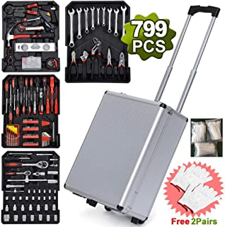 Aluminum Organizer Tools Mechanic Kit Box Case Toolbox Trolley Portable Metric Tap and Die Set including spanners, wrench, handle, pressure gauge(799 Piece)