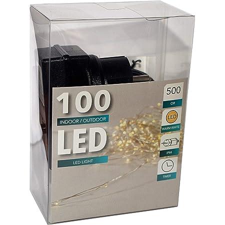 Lichterkette 100 LEDs Kupferdraht inkl 6h Timer 1020cm warmweiß Batterie Deko
